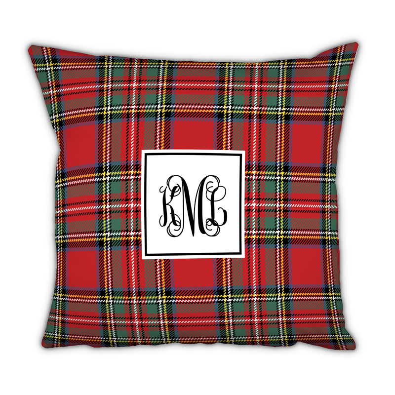 tartan plaid monogram pillow by boatman geller  seasonsgiftsandhome com