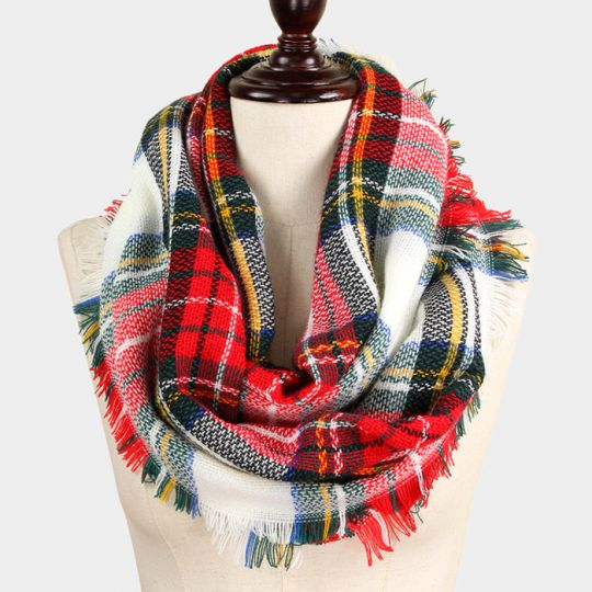 dc6d58269 Red and Green Plaid Infinity Scarf: seasonsgiftsandhome.com